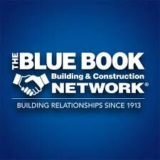 The Blue Book Building and Construction Network logo with blue background